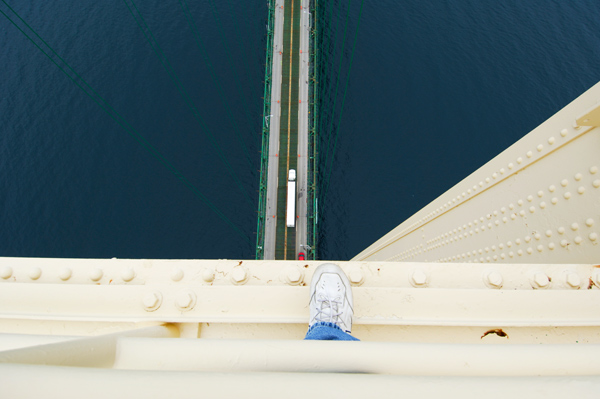 Looking down from top of the Mackinac Bridge