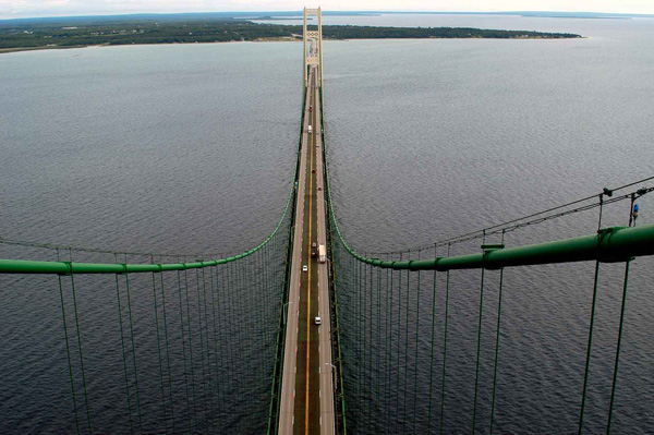 Mackinac Bridge view from the top