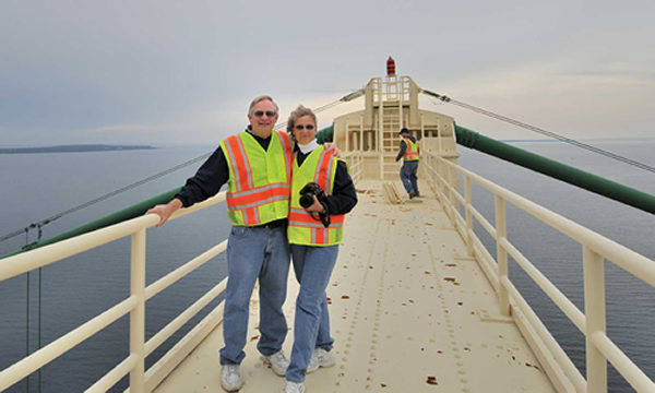 Mike and Sandy on top of the Mackinac Bridge